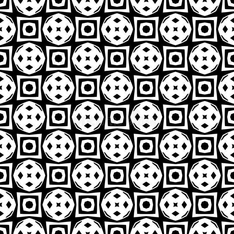 Fundo geométrico repetido sem emenda preto e branco do teste padrão da flor decorativa Matéria têxtil, livros, estreptococo ilustração royalty free