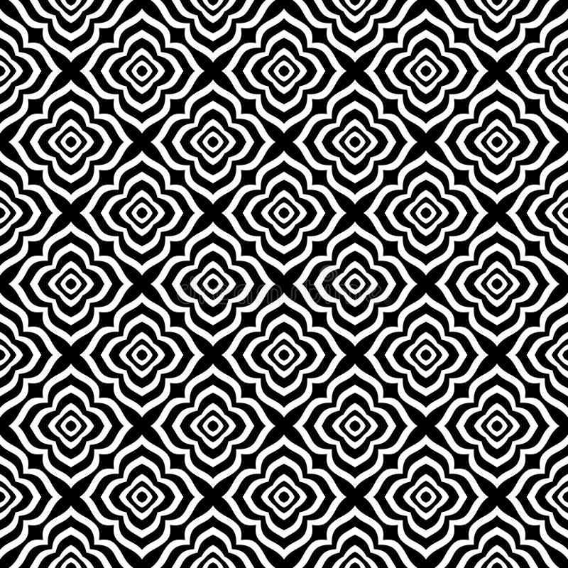 Fundo geométrico repetido sem emenda preto e branco do teste padrão da flor decorativa Matéria têxtil, livros, estreptococo ilustração do vetor