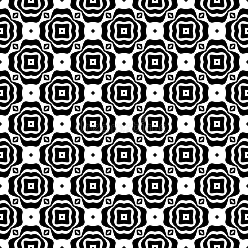 Fundo geométrico repetido sem emenda preto e branco do teste padrão da flor decorativa Matéria têxtil, livros, estreptococo ilustração stock