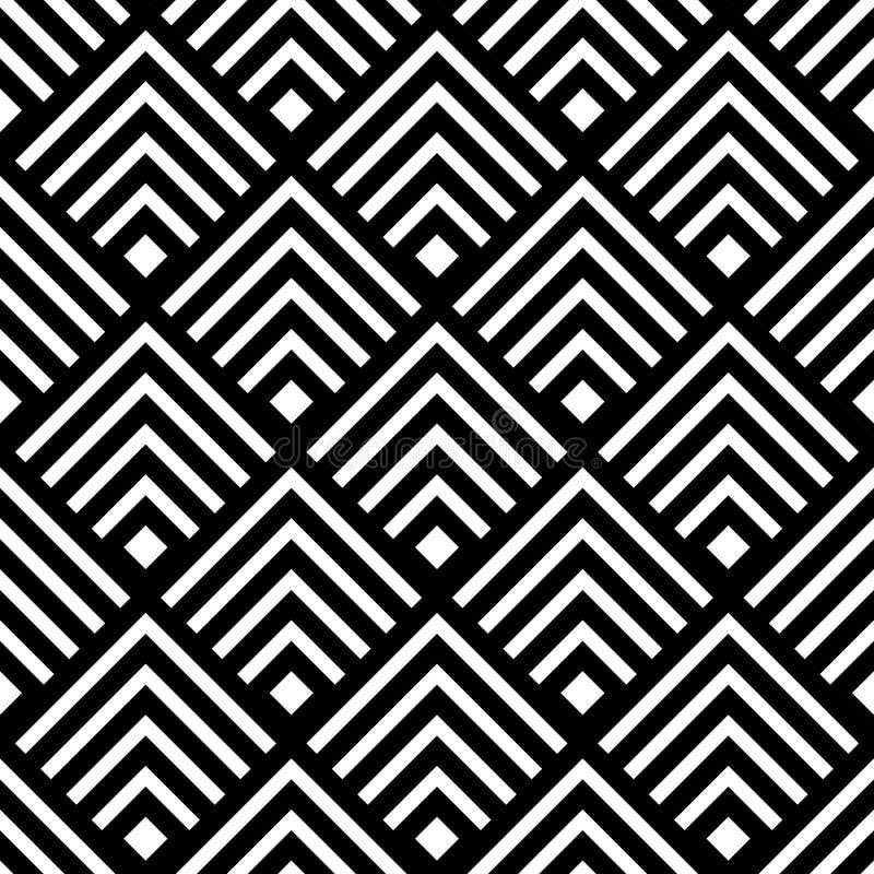 Fundo geométrico sem emenda do vetor, estreptococo preto e branco simples ilustração do vetor
