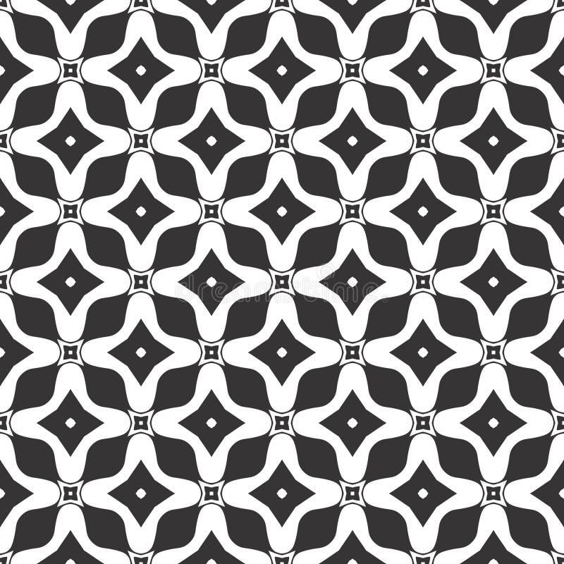 Fundo geométrico sem emenda do vetor, preto e branco simples ilustração stock
