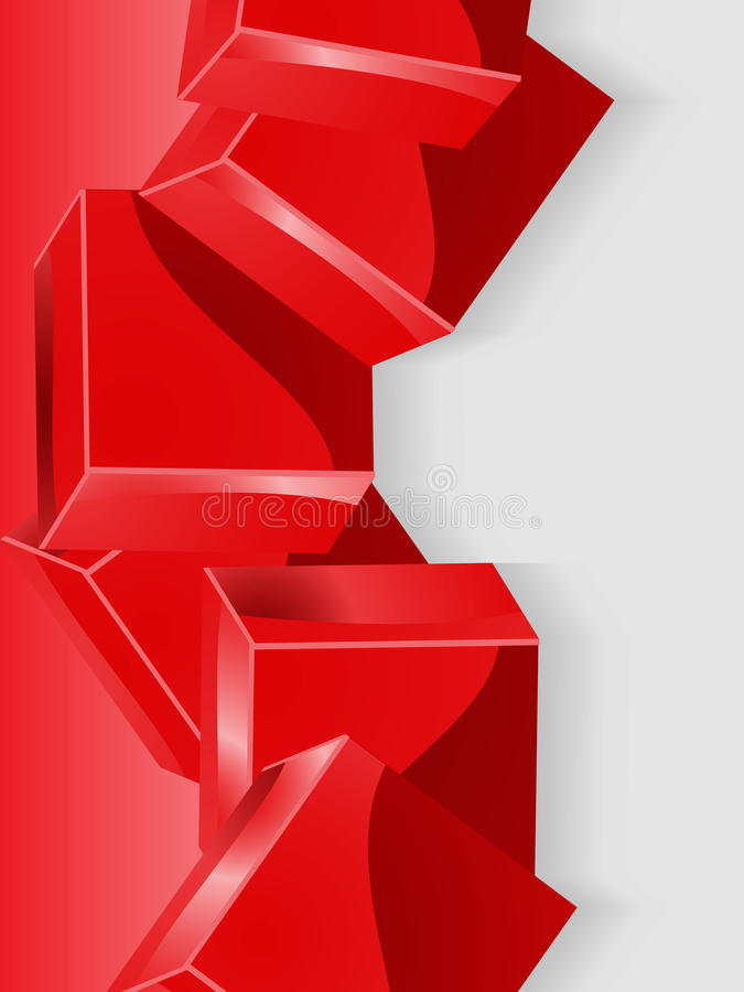 Fundo geométrico vermelho do retrato do cubo 3D ilustração do vetor