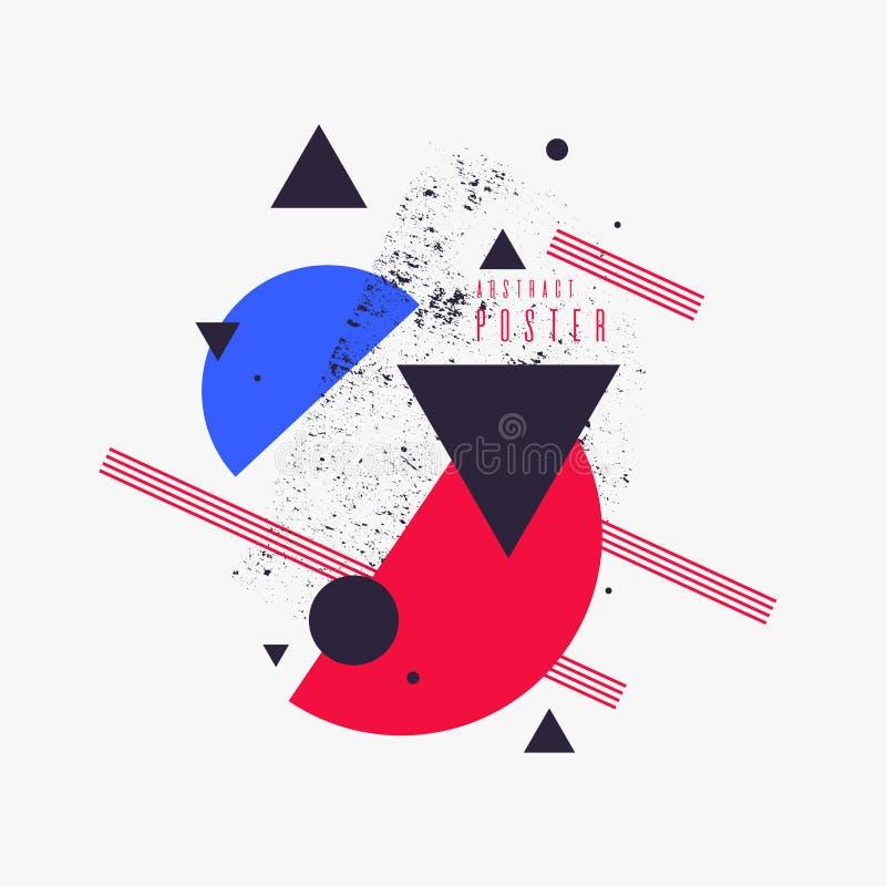 Fundo geom?trico da arte abstrato moderna com estilo liso, minimalistic Poster do vetor ilustração do vetor
