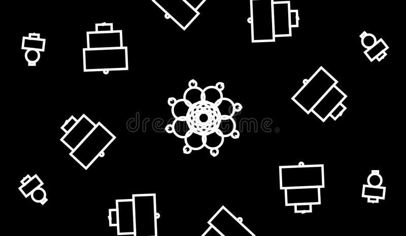 Fundo geom?trico do grayscale abstrato As formas geométricas projetam com fundo preto ilustração stock