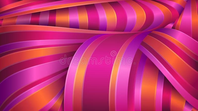 Fundo geom?trico na moda moderno Tela brilhante do cetim Fitas violetas e vermelhas ilustração royalty free