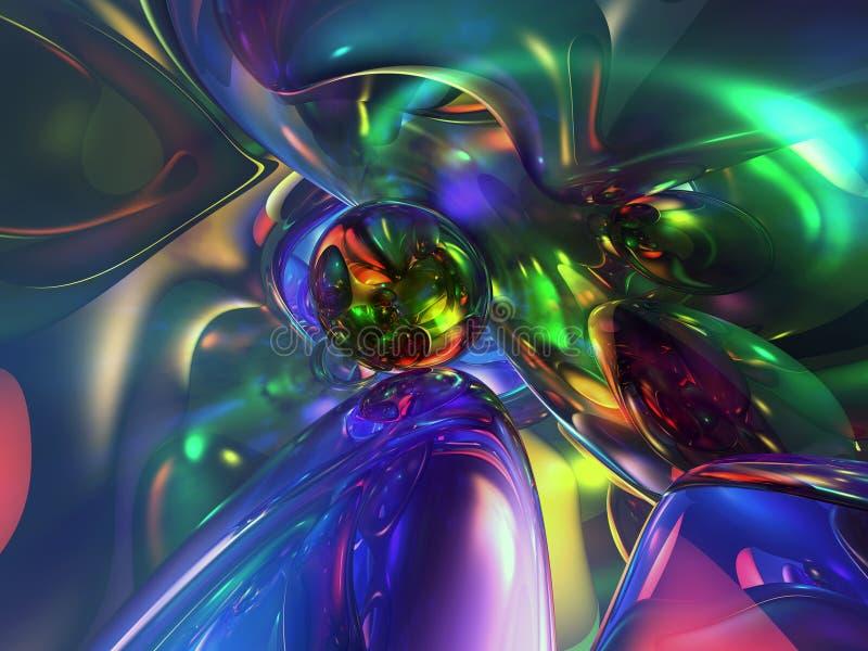 fundo Glassy colorido abstrato do papel de parede 3D ilustração royalty free