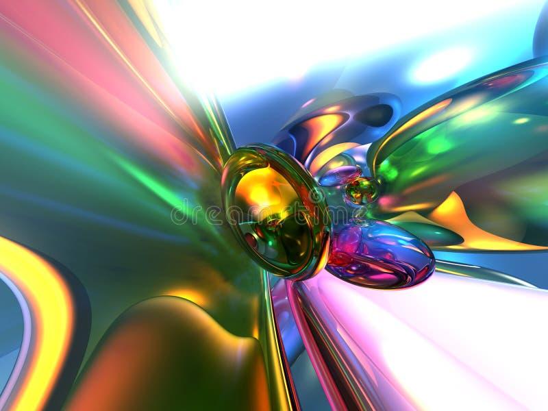 fundo Glassy colorido abstrato do papel de parede 3D ilustração stock