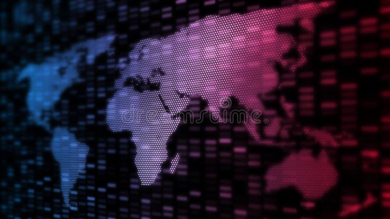 Fundo global abstrato da tecnologia Mapa do mundo criado dos pontos da perspectiva e da forma de incandescência da geometria do r ilustração do vetor