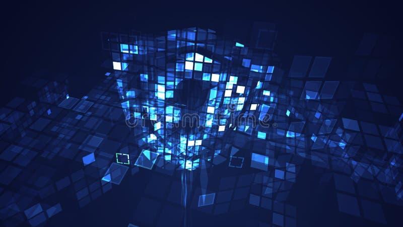 Fundo gráfico azul abstrato da tecnologia digital do cyber ilustração royalty free