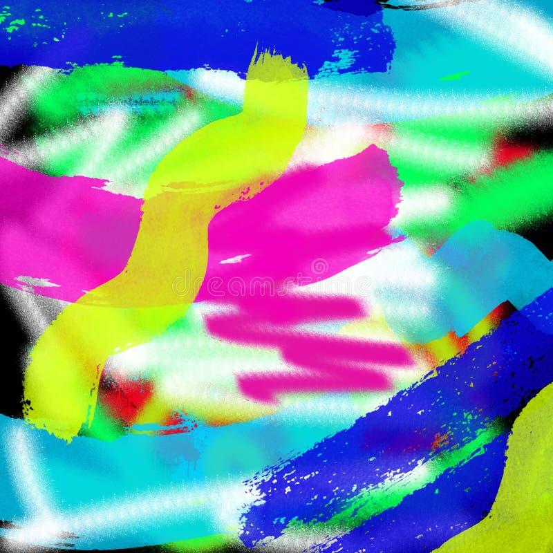 Fundo gráfico colorido moderno do estilo do grunge do sumário da arte para a Web e a pintura da tração da tinta da cópia imagens de stock royalty free