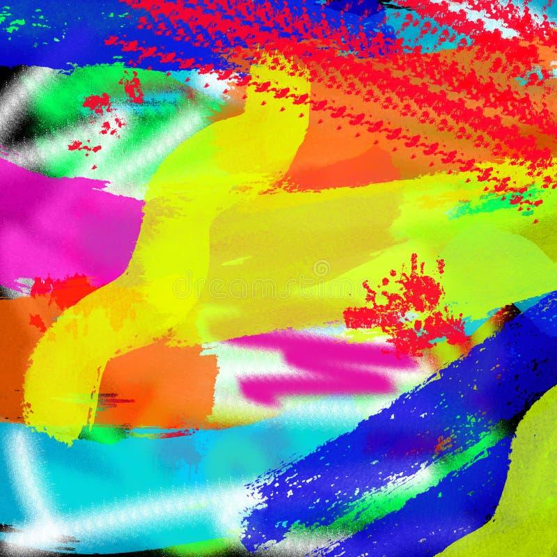 Fundo gráfico colorido moderno do estilo do grunge do sumário da arte para a Web e a pintura da tração da tinta da cópia imagens de stock