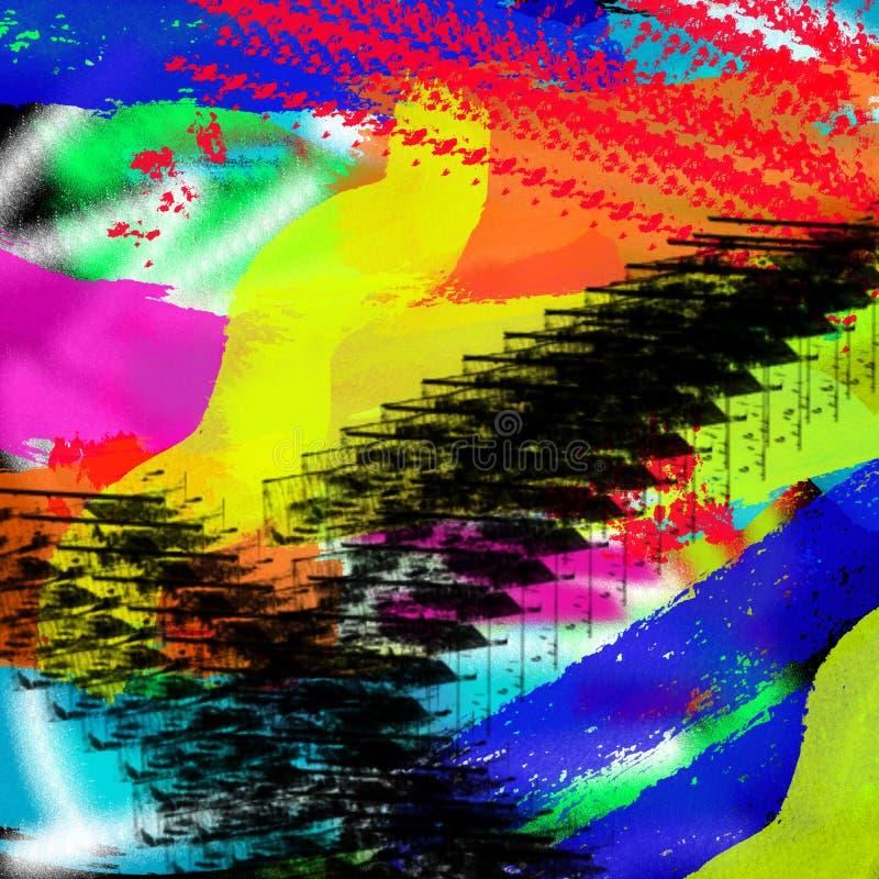 Fundo gráfico colorido moderno do estilo do grunge do sumário da arte para a Web e a pintura da tração da tinta da cópia fotos de stock