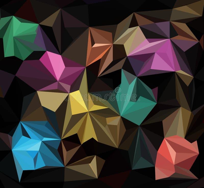 Fundo gráfico emaranhado geométrico escuro multicolorido da ilustração poli triangular do inclinação do estilo do origâmi do pont ilustração do vetor