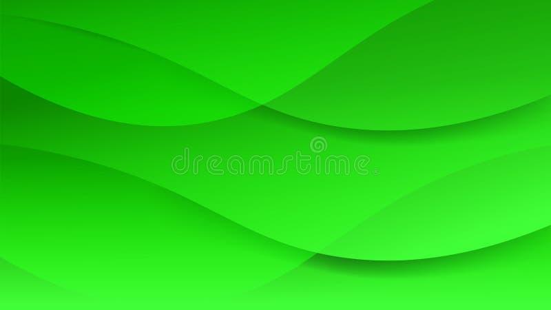 Fundo gráfico macio verde limpo bonito futurista O certificado abstrato moderno da ata com suave alisa linhas disposi??o da onda  ilustração do vetor