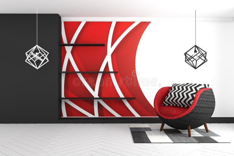 Fundo gráfico vermelho da parede, com estilo moderno vermelho da poltrona e do tapete e das lâmpadas rendi??o 3d ilustração stock