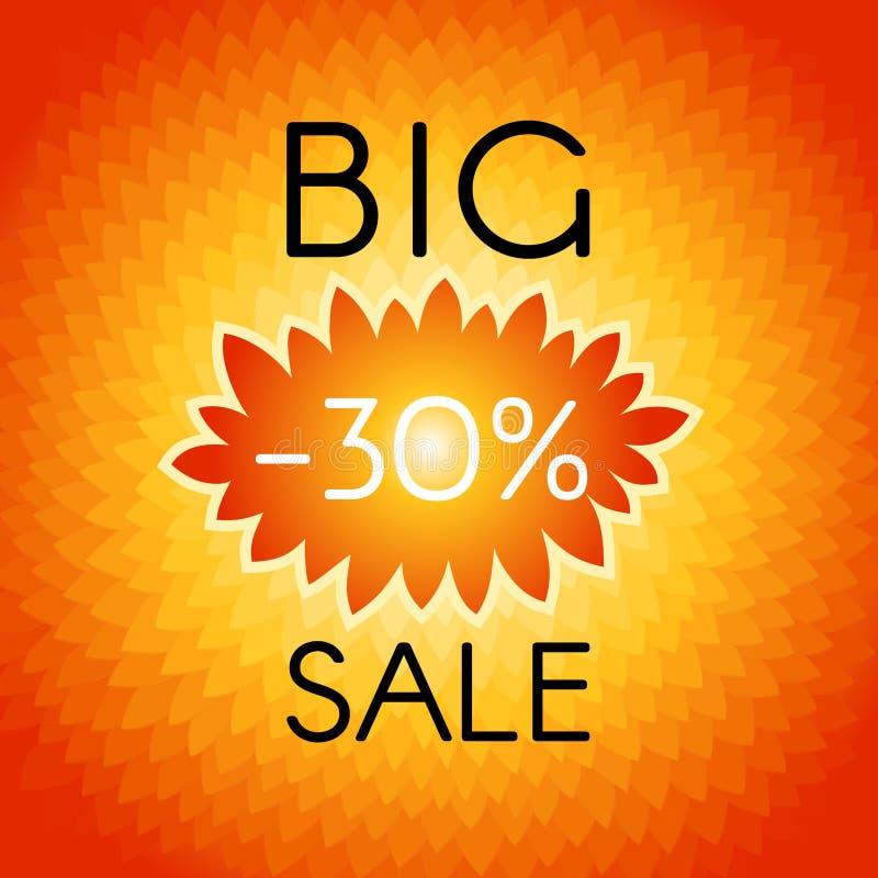 Fundo grande da venda com etiqueta ondulada, que indica os por cento ilustração stock