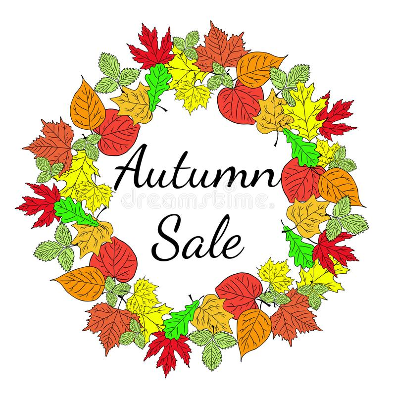 Fundo grande sazonal do negócio da venda do outono com folhas coloridas editable Vetor ilustração do vetor
