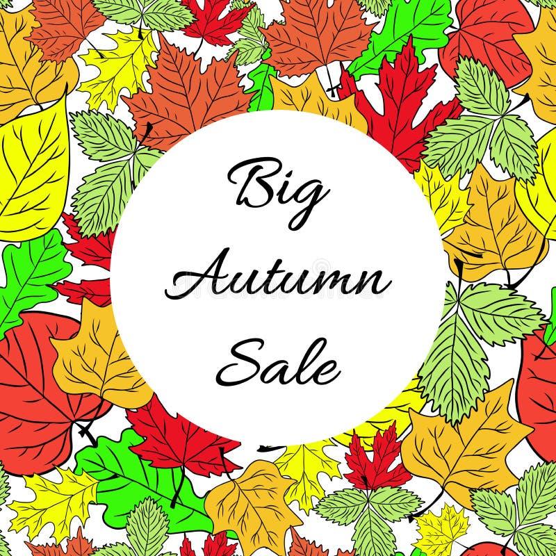 Fundo grande sazonal do negócio da venda do outono com folhas coloridas editable Vetor ilustração royalty free