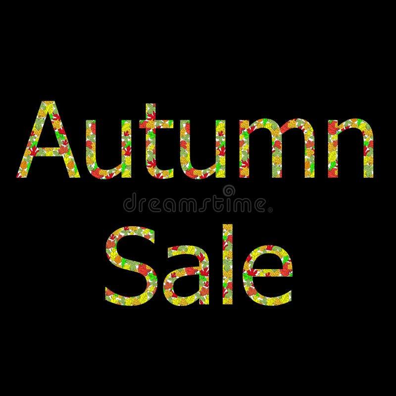 Fundo grande sazonal do negócio da venda do outono com folhas coloridas editable Vetor ilustração stock