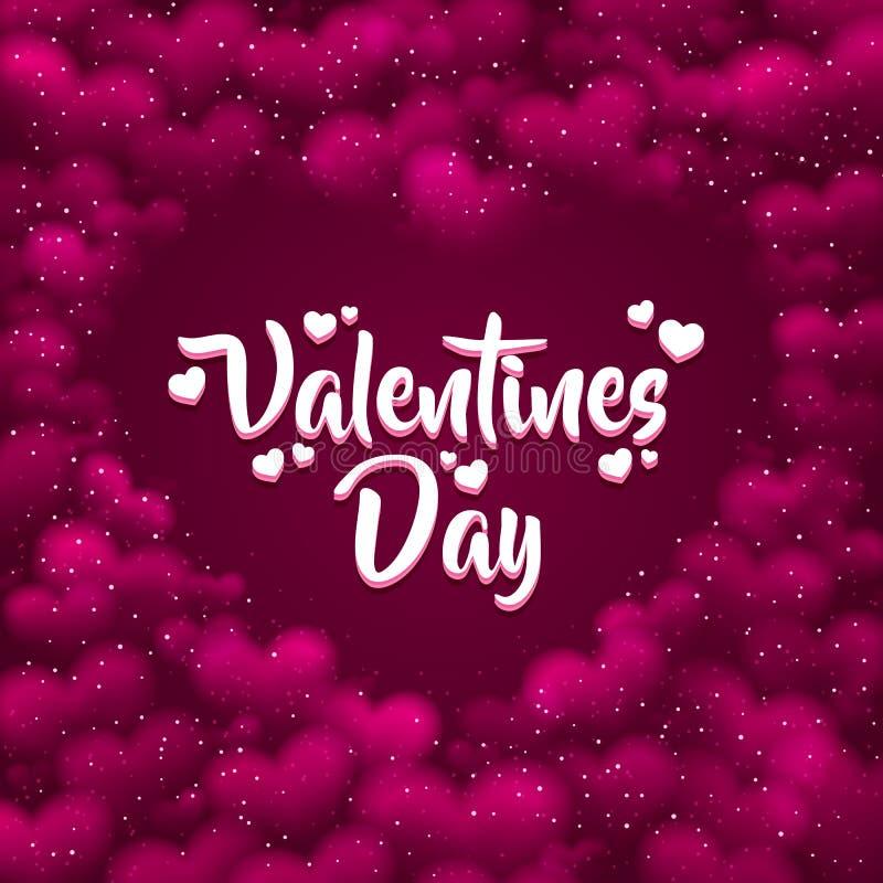 Fundo hearted cor-de-rosa com um dia de Valentim ilustração do vetor