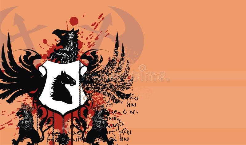 Fundo heráldico da crista da brasão da águia ilustração stock