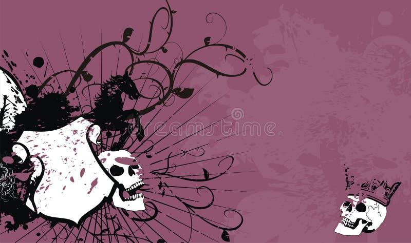 Fundo heráldico da crista da brasão do crânio ilustração royalty free