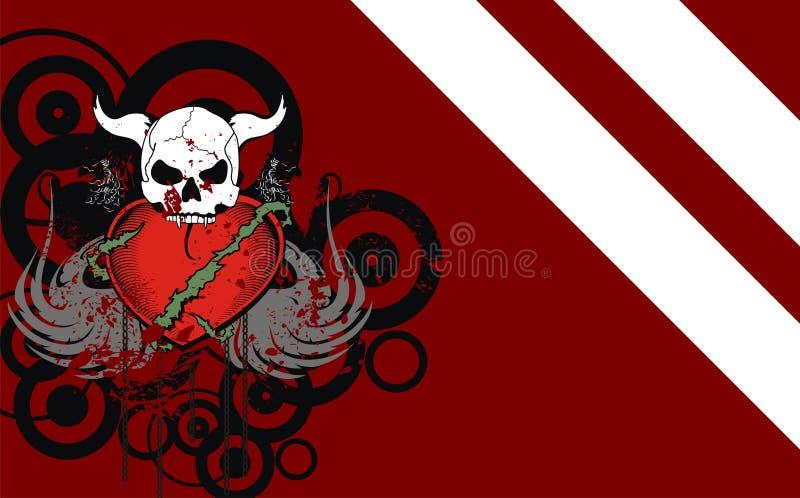 Fundo heráldico da crista do crânio da tatuagem do coração ilustração do vetor