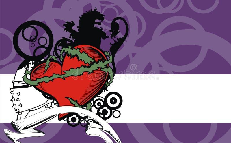 Fundo heráldico da crista do leão da tatuagem do coração ilustração stock
