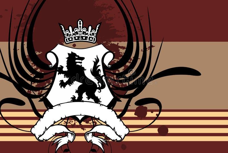 Fundo heráldico da tatuagem da crista da brasão do lobo da coroa ilustração royalty free