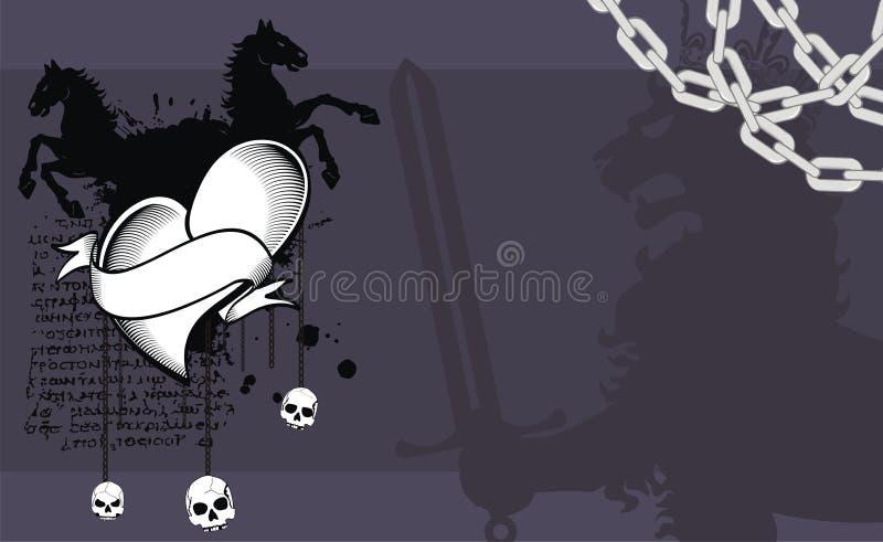 Fundo heráldico das insígnias da crista do coração do cavalo ilustração do vetor