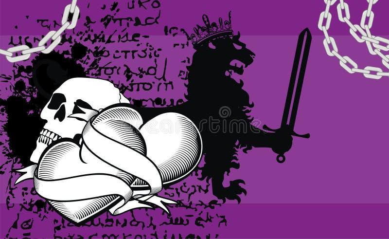 Fundo heráldico do emblema da crista do coração do crânio ilustração royalty free