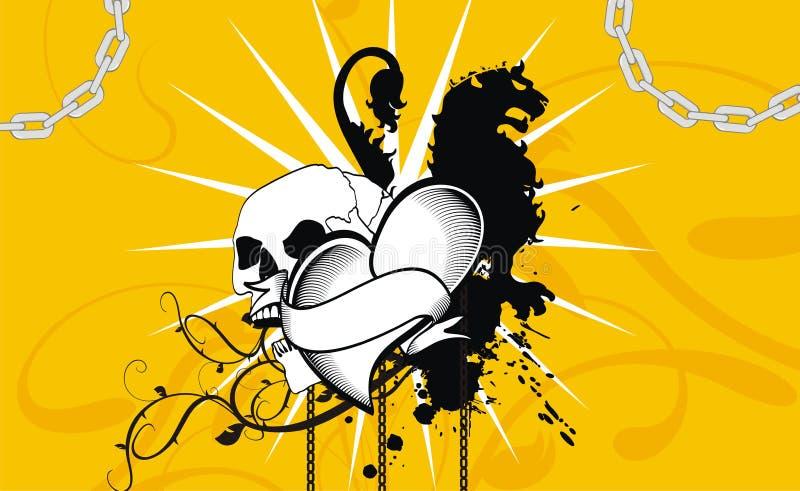 Fundo heráldico do emblema da crista do coração do leão ilustração do vetor