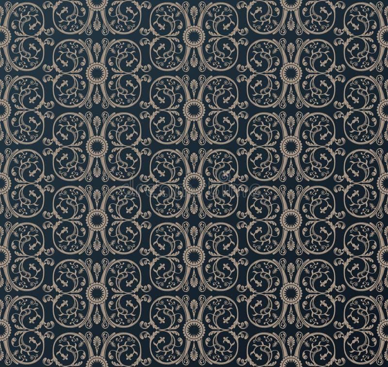Fundo heráldico do preto do ornamento do papel de parede do vintage sem emenda ilustração stock