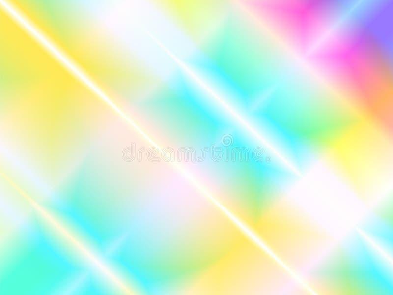 Fundo holográfico abstrato com feixes do arco-íris de luz do efeito da dispersão de prisma ilustração stock