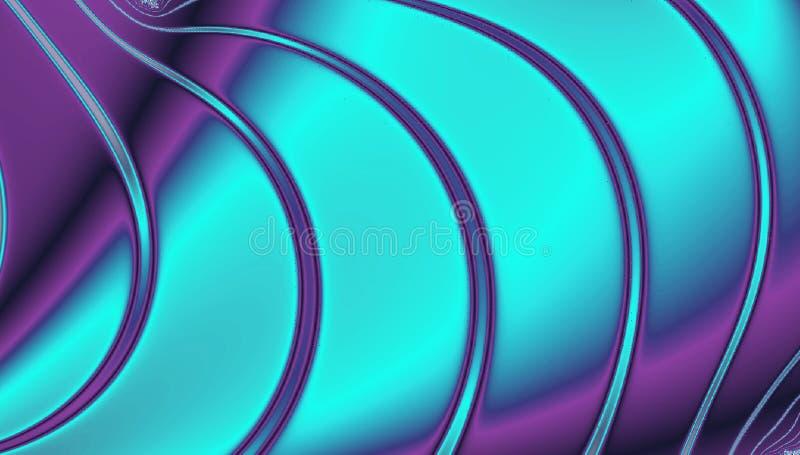Fundo holográfico da folha no azul e nas linhas ultravioletas, de néon da cerceta fotografia de stock