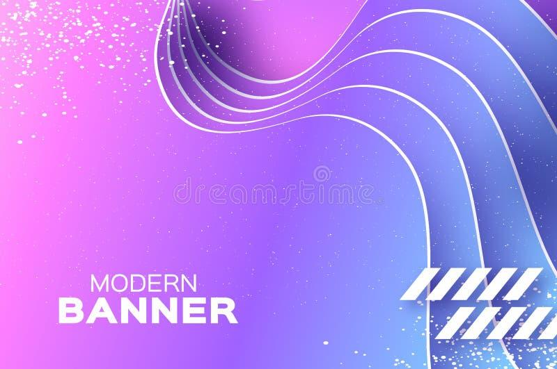 Fundo holográfico da onda no estilo do corte do papel Composição mergulhada origâmi das formas Linha dinâmica da curva Espaço par ilustração stock