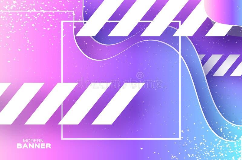 Fundo holográfico da onda no estilo do corte do papel Composição mergulhada origâmi das formas Linha dinâmica elementos do branco ilustração do vetor
