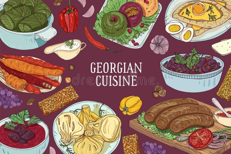 Fundo horizontal colorido com refeições tradicionais deliciosas da culinária e do lugar Georgian para o texto Mão desenhada ilustração stock
