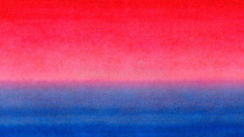 Fundo horizontal colorido da textura da aquarela da bandeira do inclinação brilhante azul vermelho do amarelo alaranjado Nascer d ilustração stock