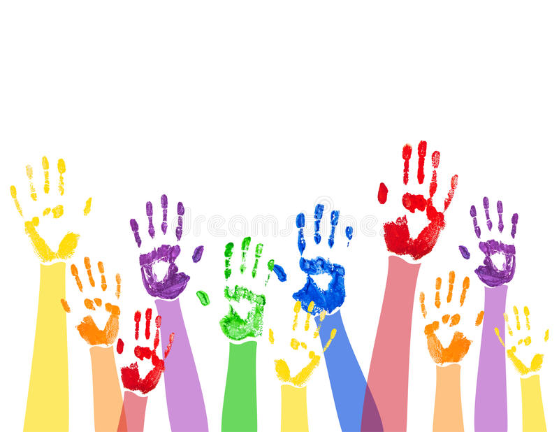Fundo horizontal com mãos coloridas da pintura ilustração royalty free