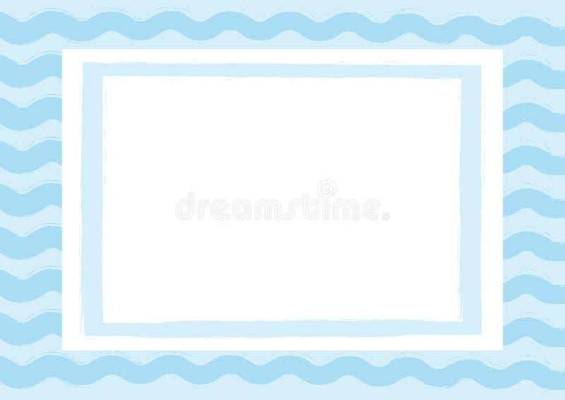 Fundo horizontal com ondas e quadro retangular Tirado à mão com uma escova áspera ilustração do vetor