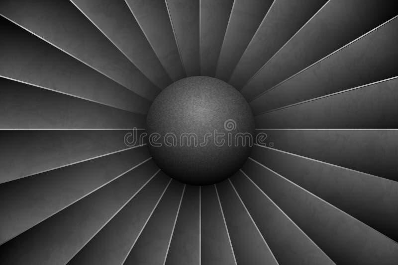 Fundo horizontal de Jet Engine Turbine Motor detalhado Front View do avião Fã do turbocompressor dos aviões da ilustração do veto ilustração do vetor