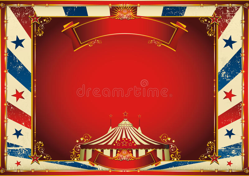 Fundo horizontal do circo do vintage com tenda de circo ilustração stock