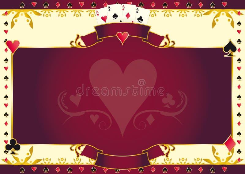 Fundo horizontal do coração do jogo de pôquer ilustração do vetor