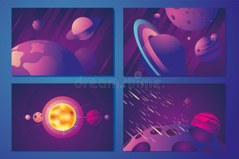 Fundo horizontal do espaço com planeta, sol e meteoros Conceito gráfico futurista Grupo abstrato da bandeira do vetor retro ilustração stock