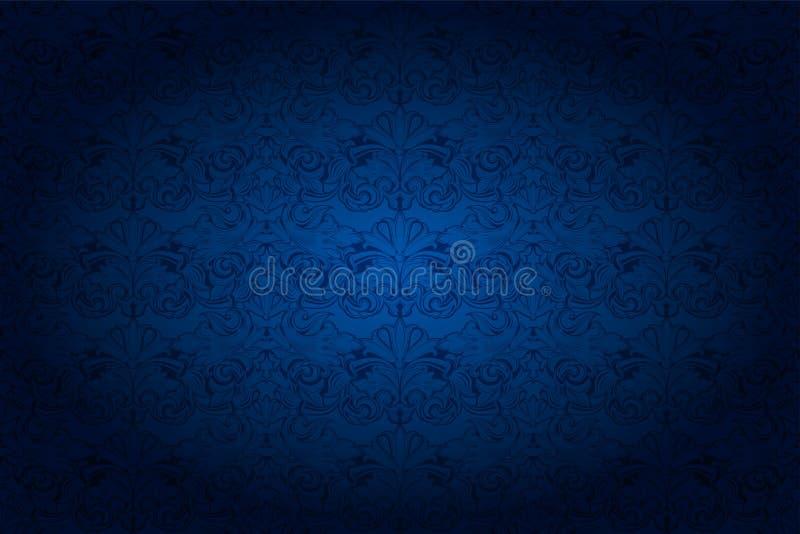 fundo horizontal na obscuridade - ultramarine azul do vintage ilustração stock