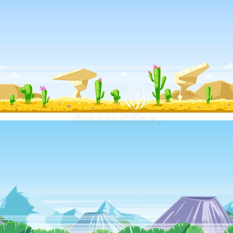 Fundo horizontal sem emenda da paisagem Vector a ilustração de dunas de areia do deserto, rochas, montanhas, vulcões ilustração do vetor