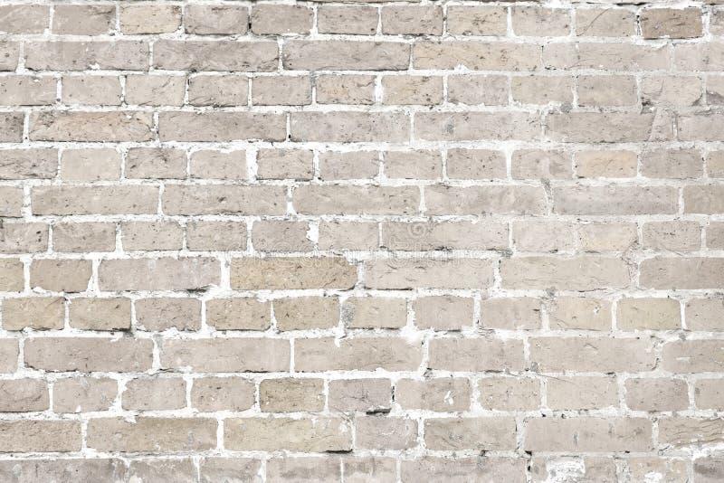 Fundo horizontal velho lavado branco da parede de tijolo foto de stock royalty free
