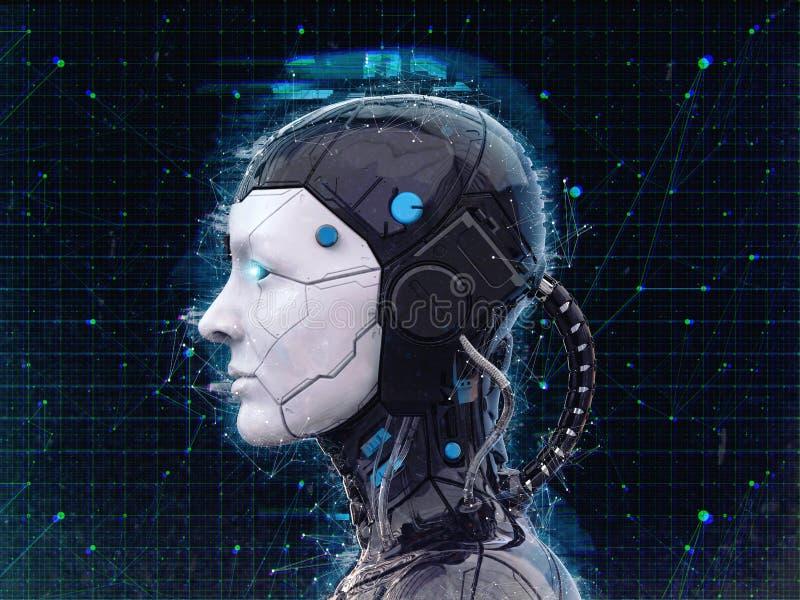Fundo Humanoid da inteligência artificial da menina do robô - 3d renderlpaper-3D para render