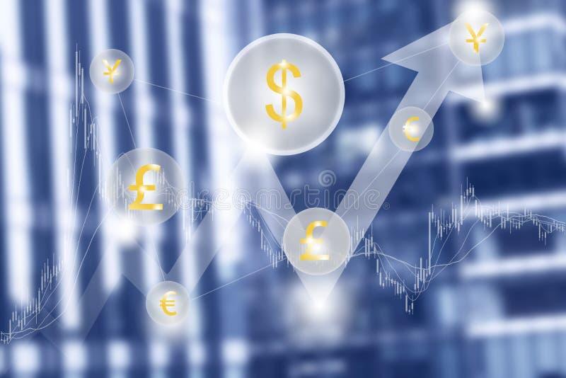 Fundo imaginário do centro financeiro, conceito criativo do dinheiro, economia e investimento ilustração do vetor